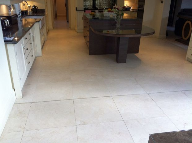 Travertine floor before cleaning