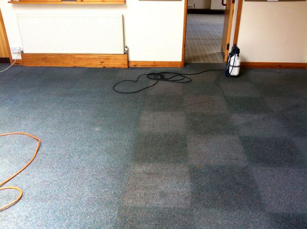 Church hall carpet tiles deep cleaned