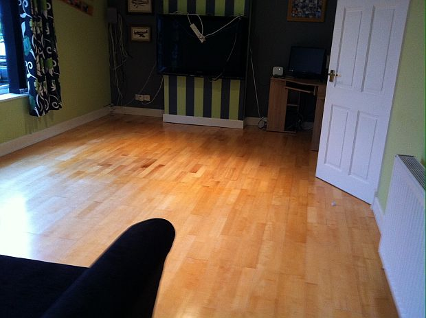Laminate floor after treatment